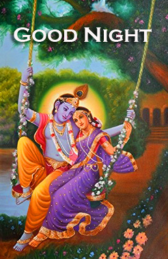 Radha and Krishna on Swing with Good Night Wish