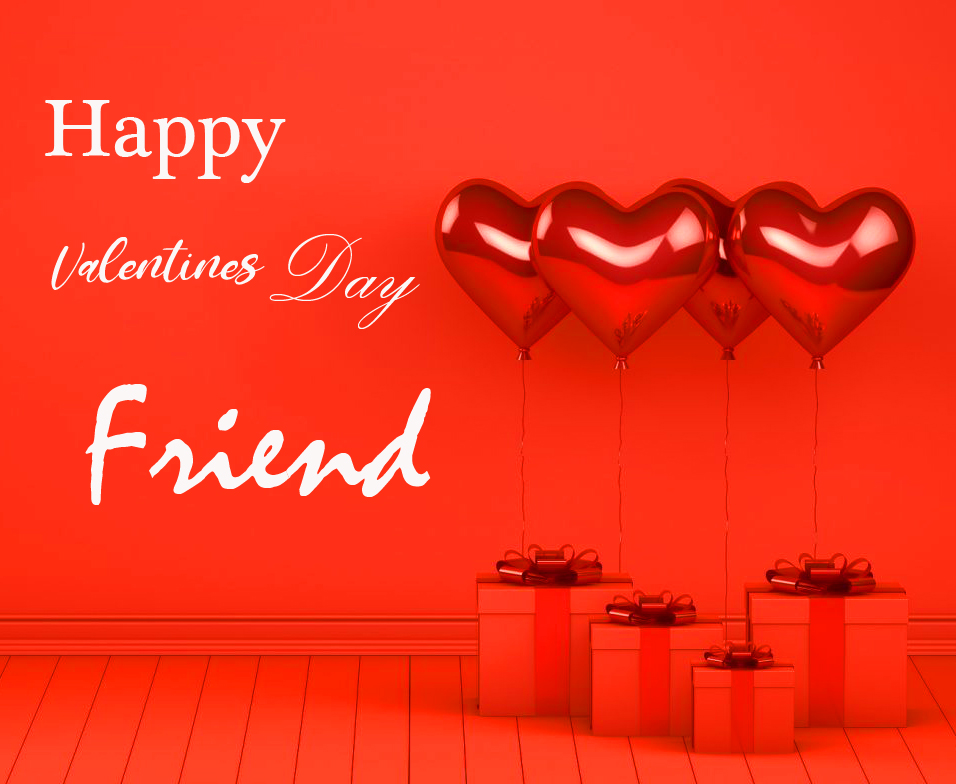 Red Hearts Happy Valentines Day Friend Image