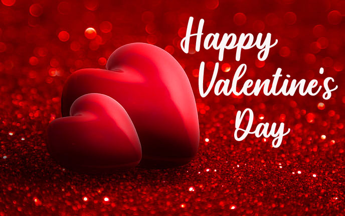 Red Hearts with Happy Valentines Day Wish