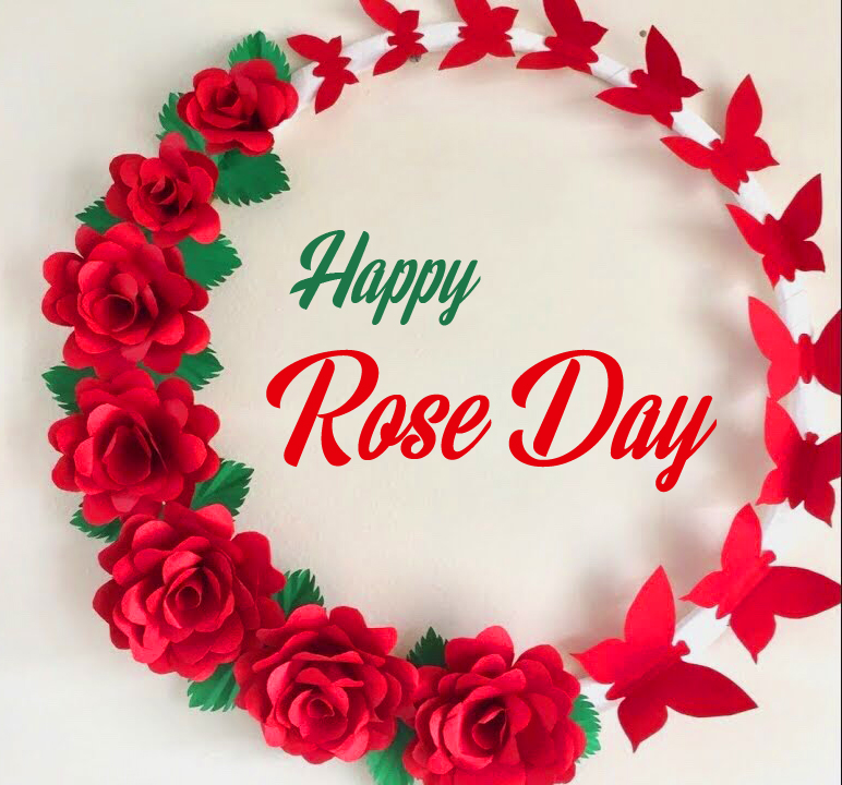 Red Roses Circle with Happy Rose Day Wish