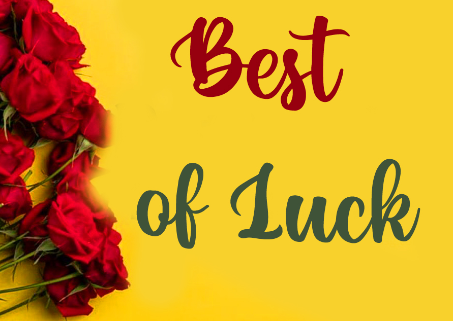 Red Roses with Best of Luck Wish