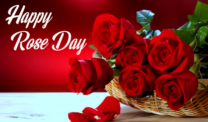 Roses Basket with Happy Rose Day Wish