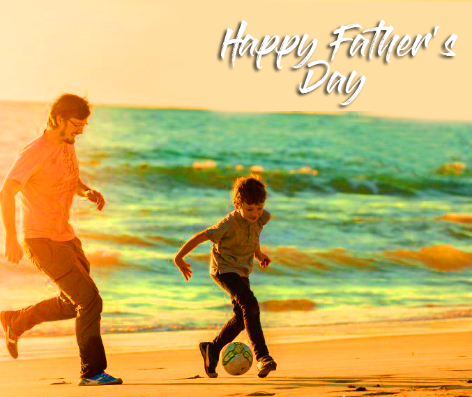 Seashore Scenery with Happy Fathers Day Message