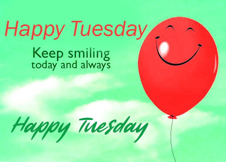 Smiley Balloon with Good Morning Happy Tuesday Wish