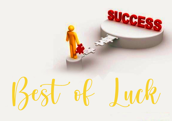 Success Key with Best of Luck Wish