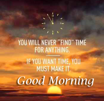 Sunrise Scenery with Time Quote Good Morning Image