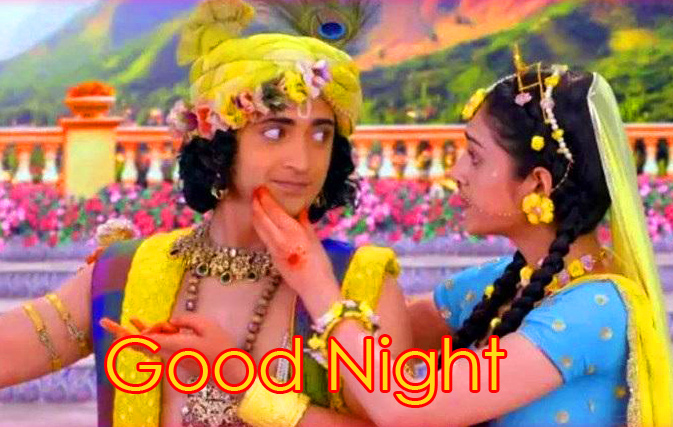 Wonderful Good Night Radha and Krishna Image