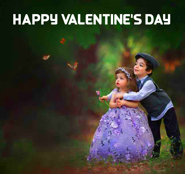 Young Couple with Happy Valentines Day Message