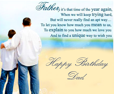 Beautiful Father Message with Happy Birthday Dad Wish