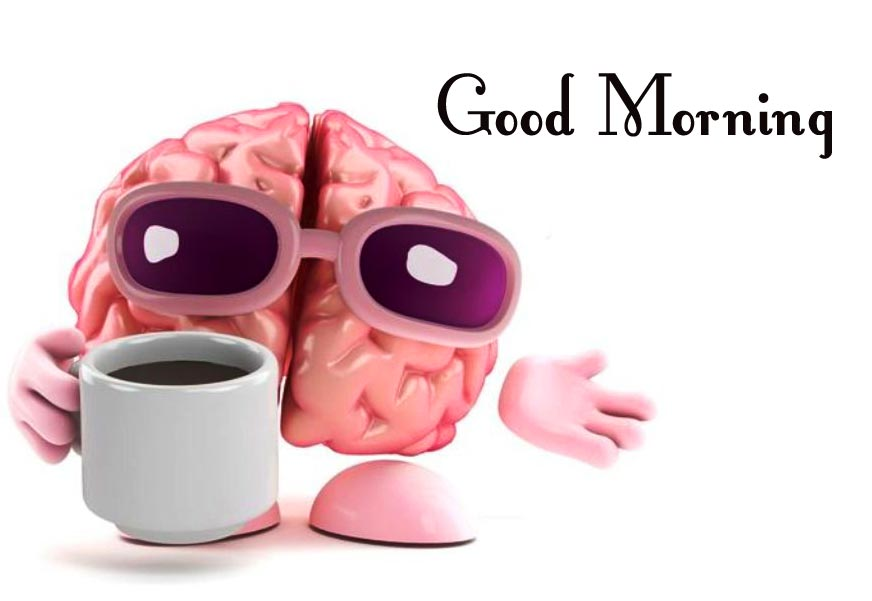 Brain with Coffee Funny Good Morning Pic