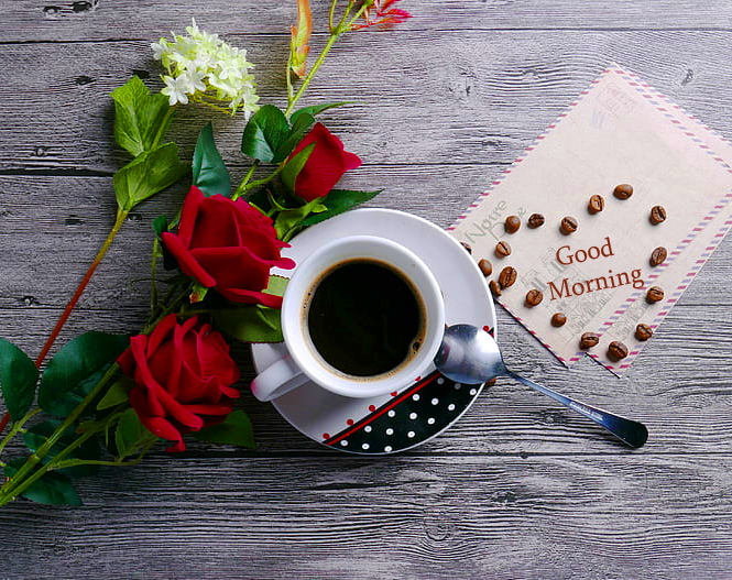 Coffee Cup with Flowers and Good Morning Card
