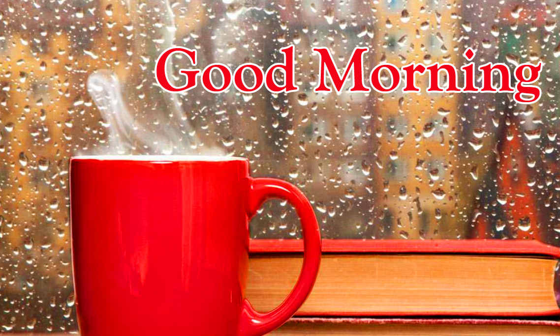 Coffee Cup with Good Morning Rainy Pic