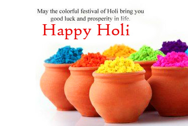 Color Pots with Happy Holi Wish Quotes