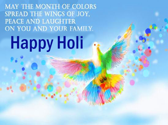 Colorful Bird with Quotes and Happy Holi Wish