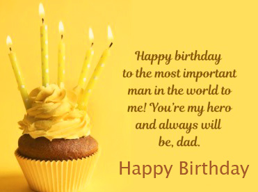 Cup Cake Happy Birthday Message for Dad