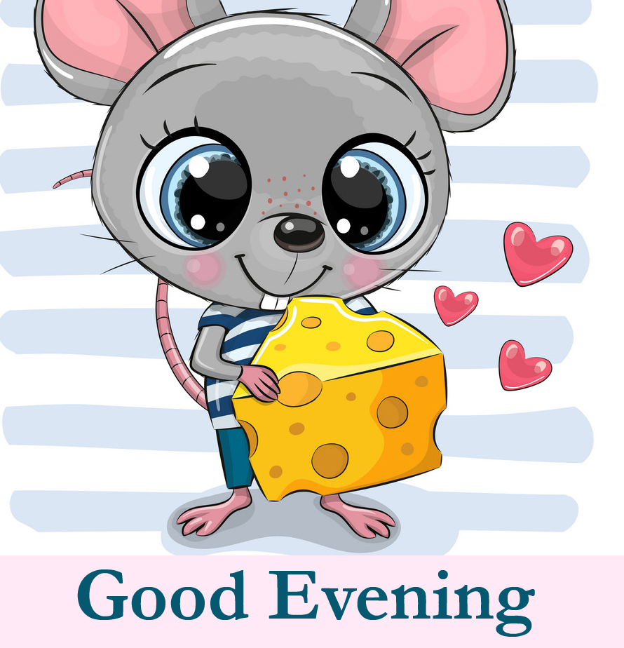 Cute Cartoon Mouse with Good Evening Wish