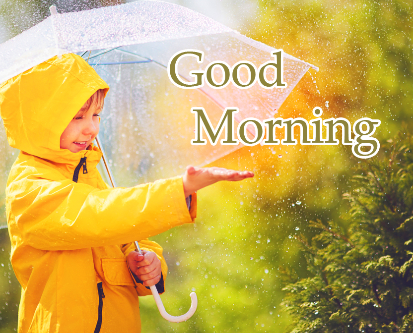 Cute Child Good Morning Rainy Wallpaper