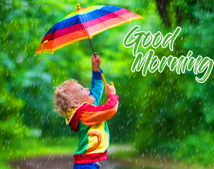 Cute Kid in Rain with Good Morning Wish