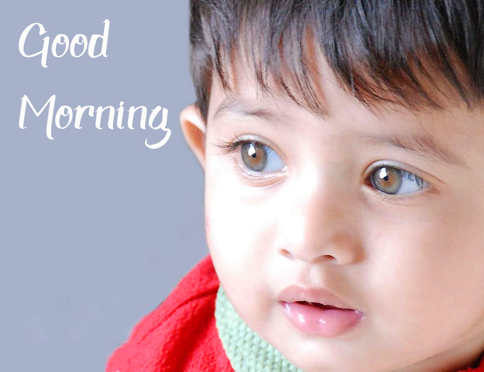 Cute Little Baby with Good Morning Wish