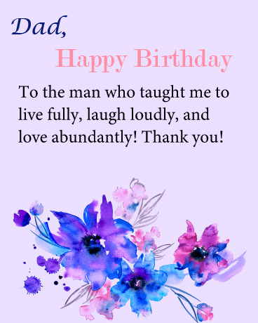 Floral Happy Birthday Dad Message Picture
