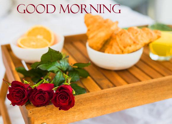 Flowers with Breakfast and Good Morning Wish