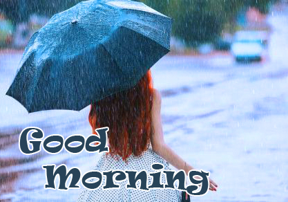 Girl with Good Morning Rainy Image HD