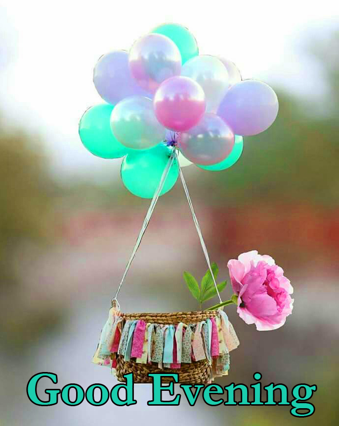 Good Evening Cute Balloons with Basket Pic