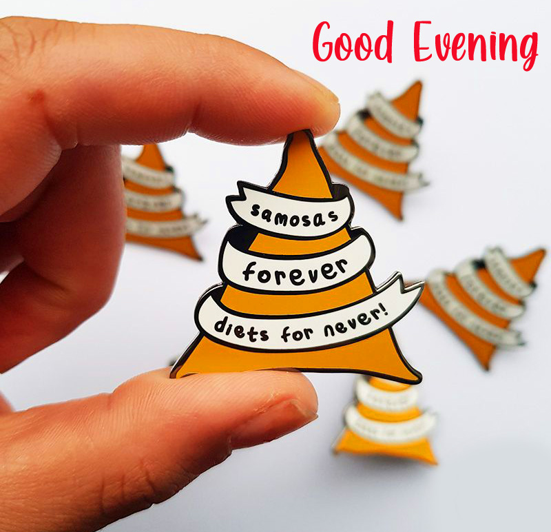Good Evening with Cute Samosa Message