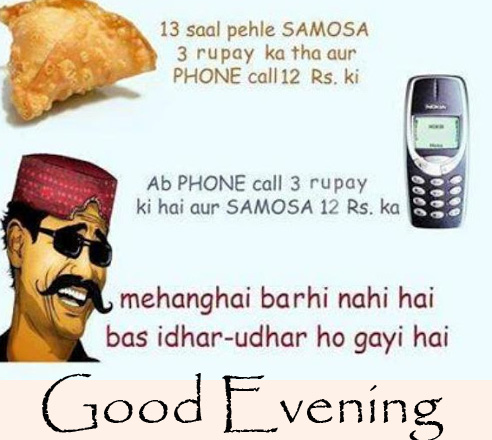 Good Evening with Funny Samosa and Mobile Quotes