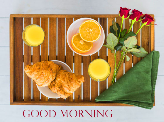 Good Morning Breakfast Image with Flowers