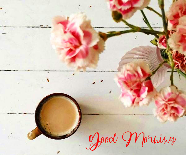 Good Morning Message with Tea Cup and Flowers