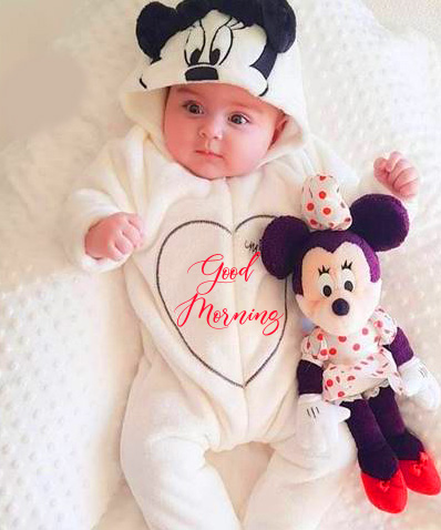 Good Morning with Baby Boy and Minnie Mouse