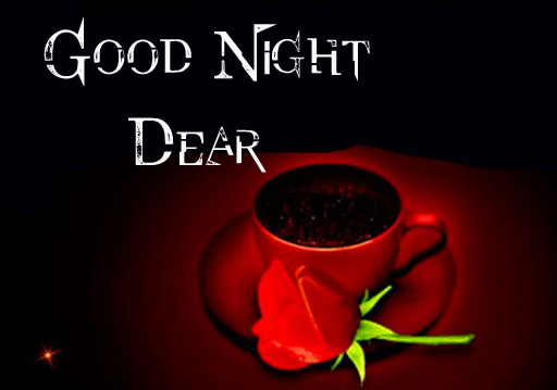 Good Night Dear Wish with Coffee Cup and Rose