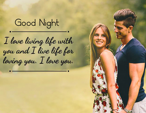 Good Night with Husband Wife Pic with Love Quote