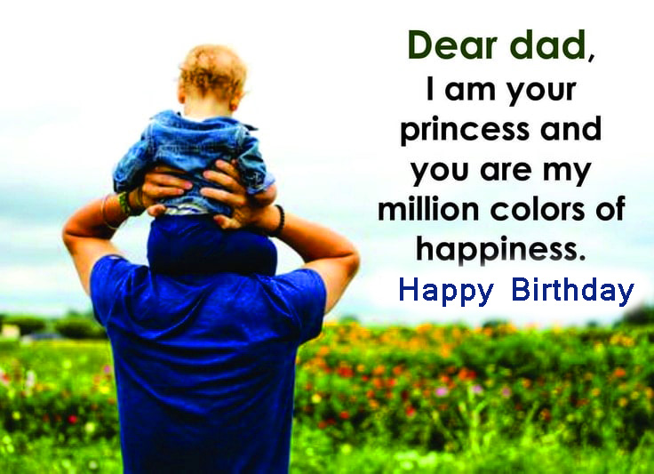 Happiness Message with Happy Birthday Dad Wish