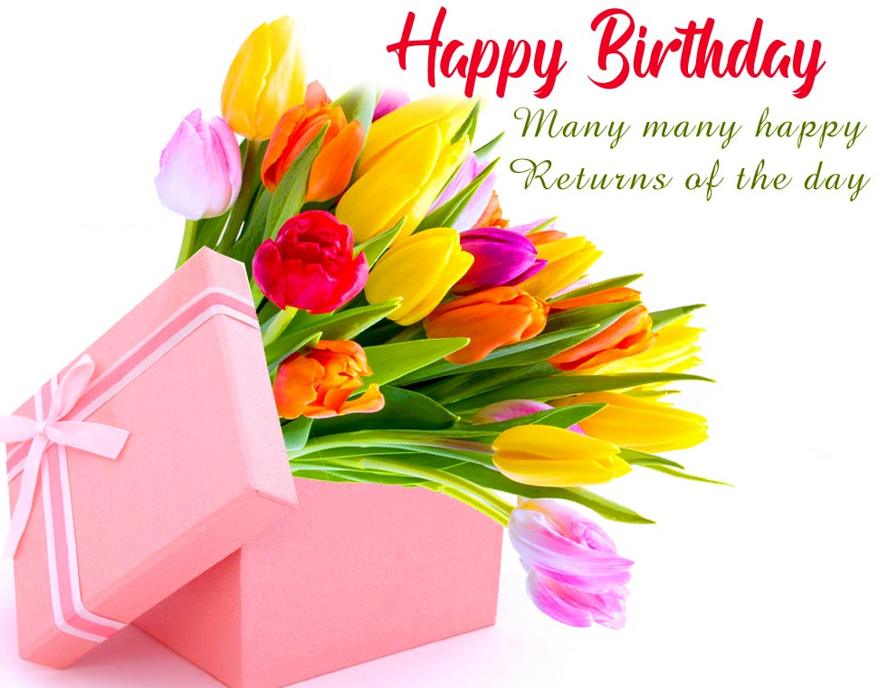 Happy Birthday Message with Flowers Gift Box