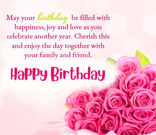 Happy Birthday Message with Rose Flowers
