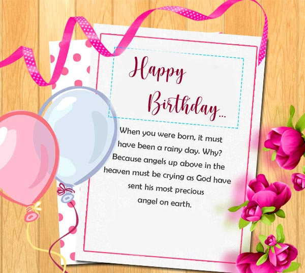 Happy Birthday with Beautiful Angel Message