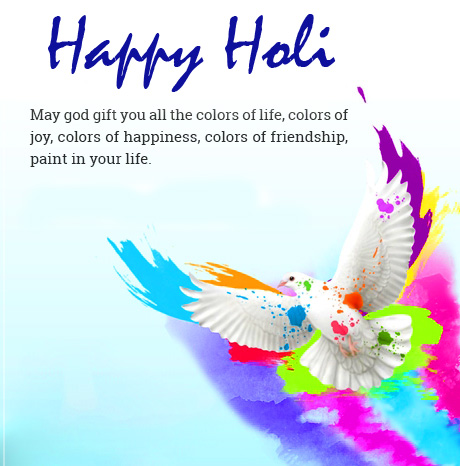 Happy Holi with Lovely Colorful Bird and Quotes