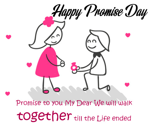 Happy Promise Day Animated Couple with Quotes