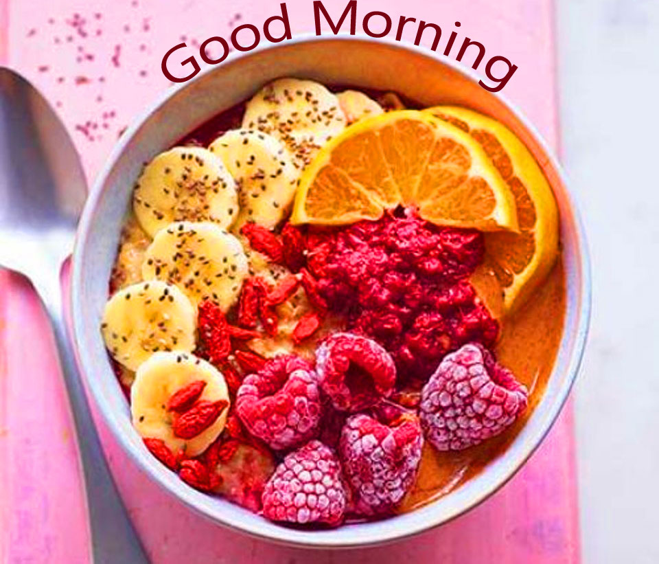 Healthy Breakfast Bowl with Good Morning Wish