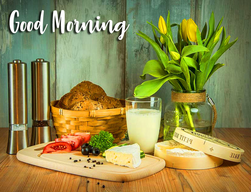 Healthy Breakfast with Flowers and Good Morning Wish