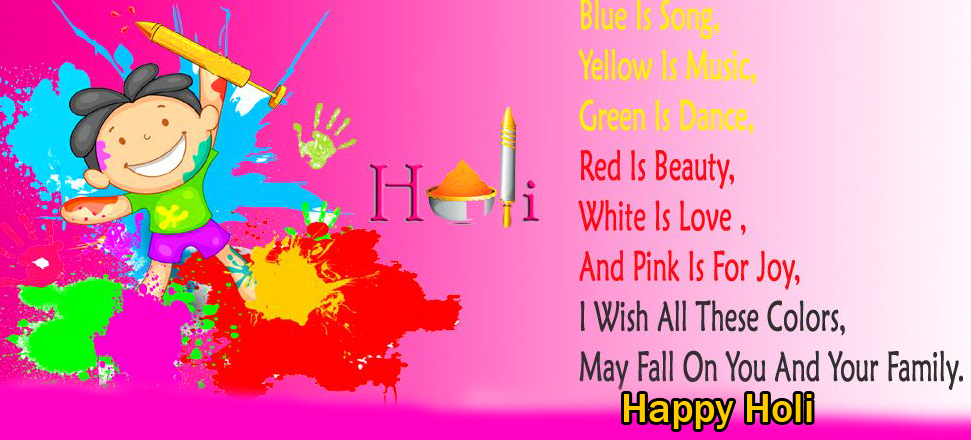 Kid Colorful Quotes Happy Holi Pic