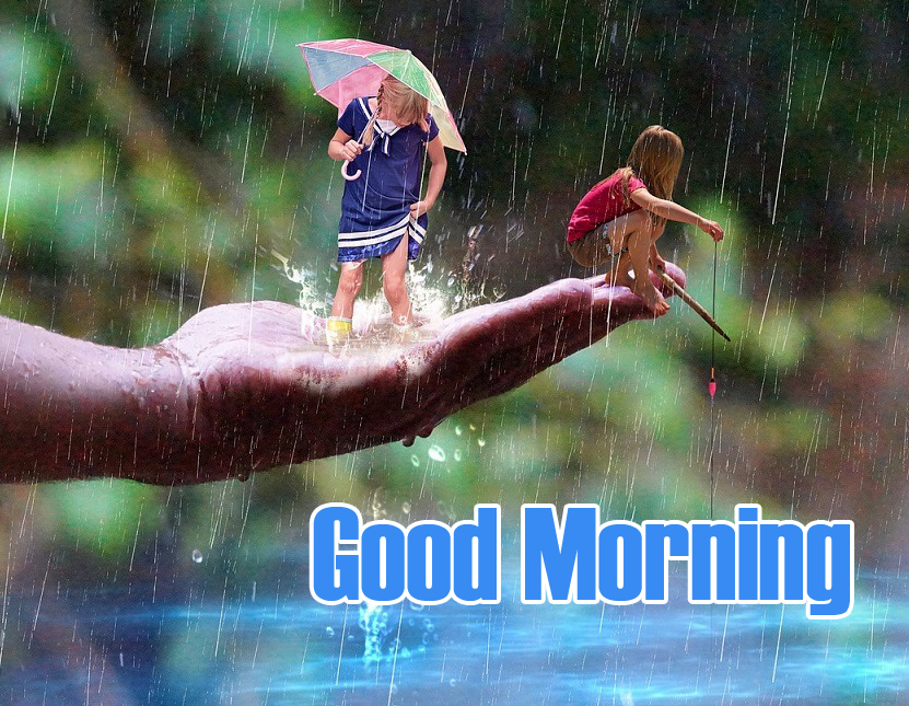 Kids in Rainy with Good Morning Wish