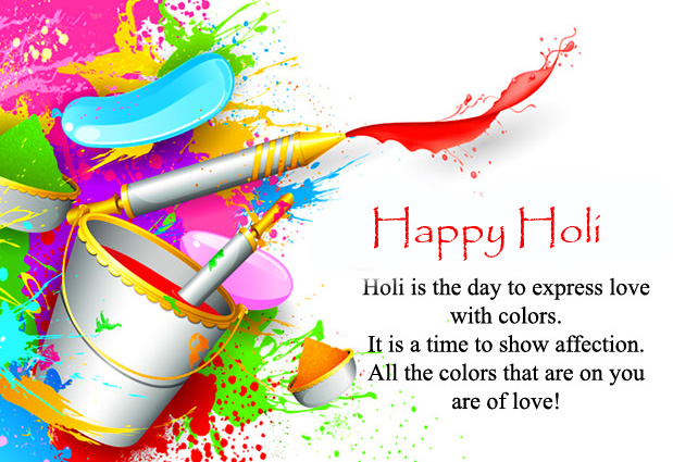 Love Quotes olors with Happy Holi Wish