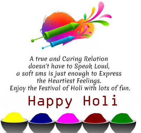 Lovely Colors Message with Happy Holi Wish