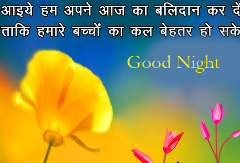 Lovely Flowers with Hindi Quotes and Good Night Wish