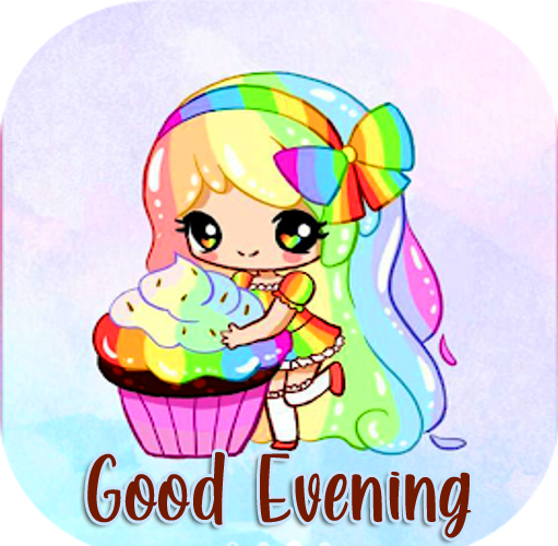 Lovely and Cute Good Evening Girl Sticker