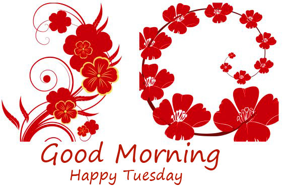 Romantic Red Flowers Good Morning Happy Tuesday Wallpaper