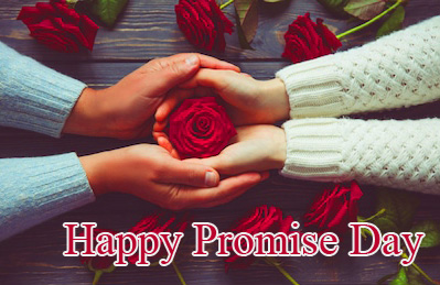 Rose with Lover Hands and Happy Promise Day Wish